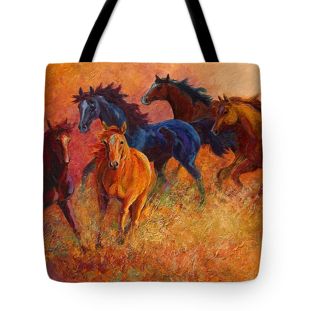 Horses Tote Bag featuring the painting Free Range - Wild Horses by Marion Rose