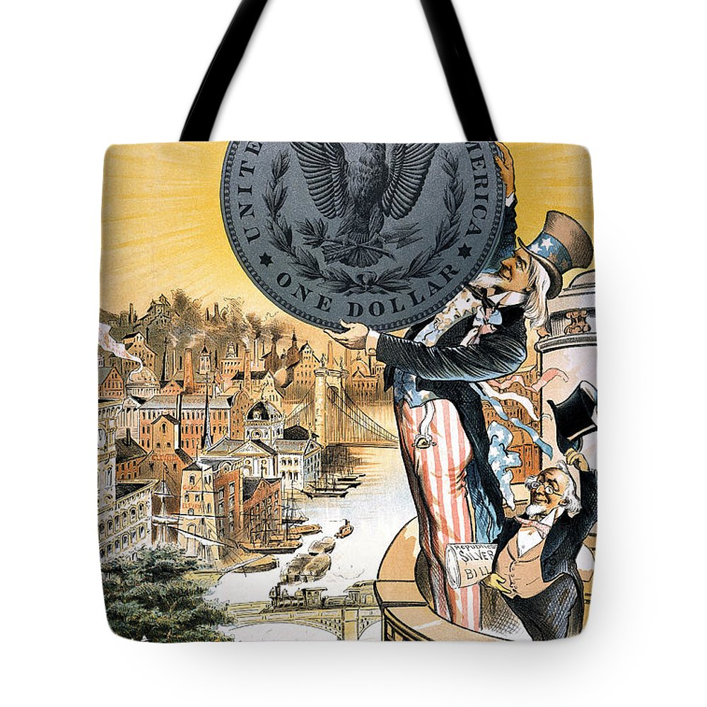 1890 Tote Bag featuring the photograph Free Silver Cartoon, 1890 by Granger