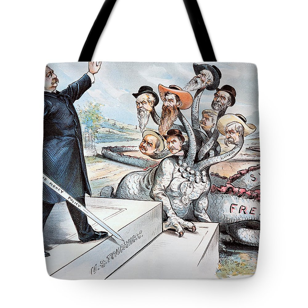 1895 Tote Bag featuring the photograph Free Silver Cartoon, 1895 by Granger
