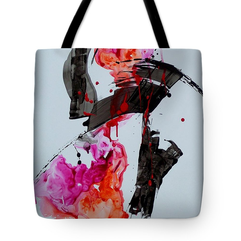 Abstract Expressionism Tote Bag featuring the painting Free Spirit 008 by Donna Frost