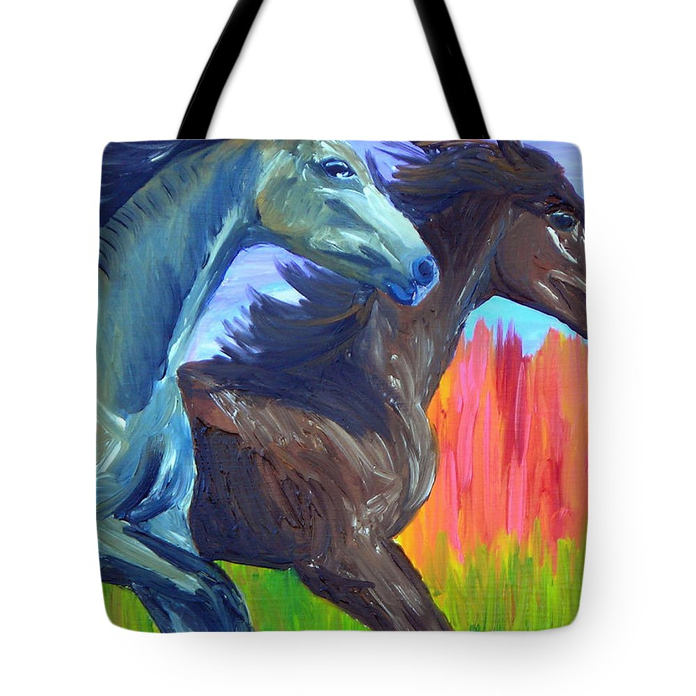 Horses Tote Bag featuring the painting Free Spirits by Michael Lee