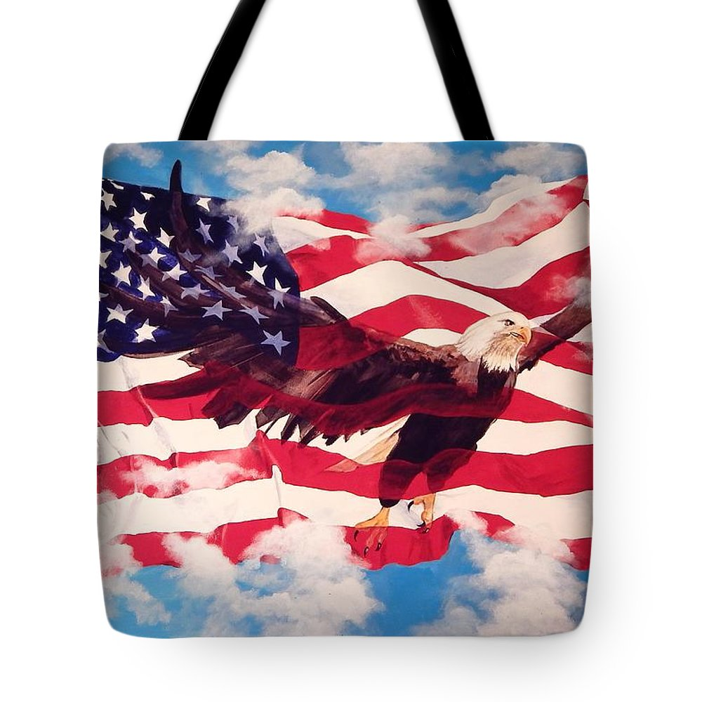 Patriotic Tote Bag featuring the painting Freedom Eagle by Michael Hagel