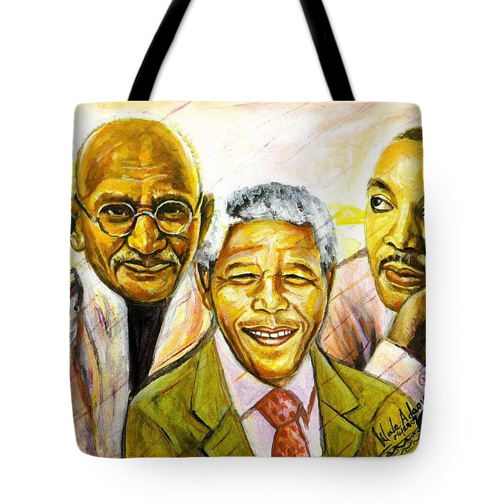 Portrait Paintings Tote Bag featuring the painting Freedom Hero by Wale Adeoye