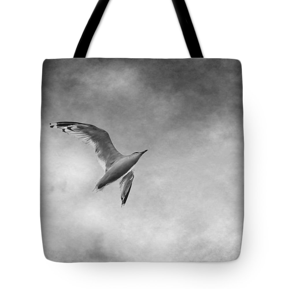 Seagull Tote Bag featuring the photograph Freedom In Black And White by Maggie Terlecki
