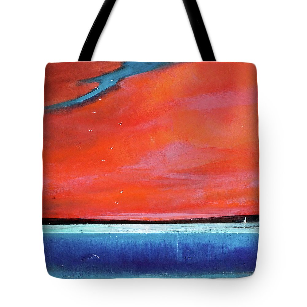 Red Tote Bag featuring the painting Freedom Journey by Toni Grote