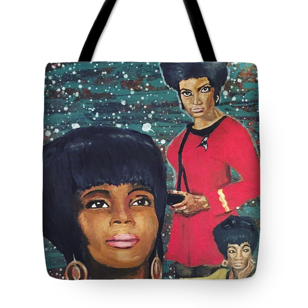 Star Tote Bag featuring the mixed media Freedom Star by Corella Fairchild