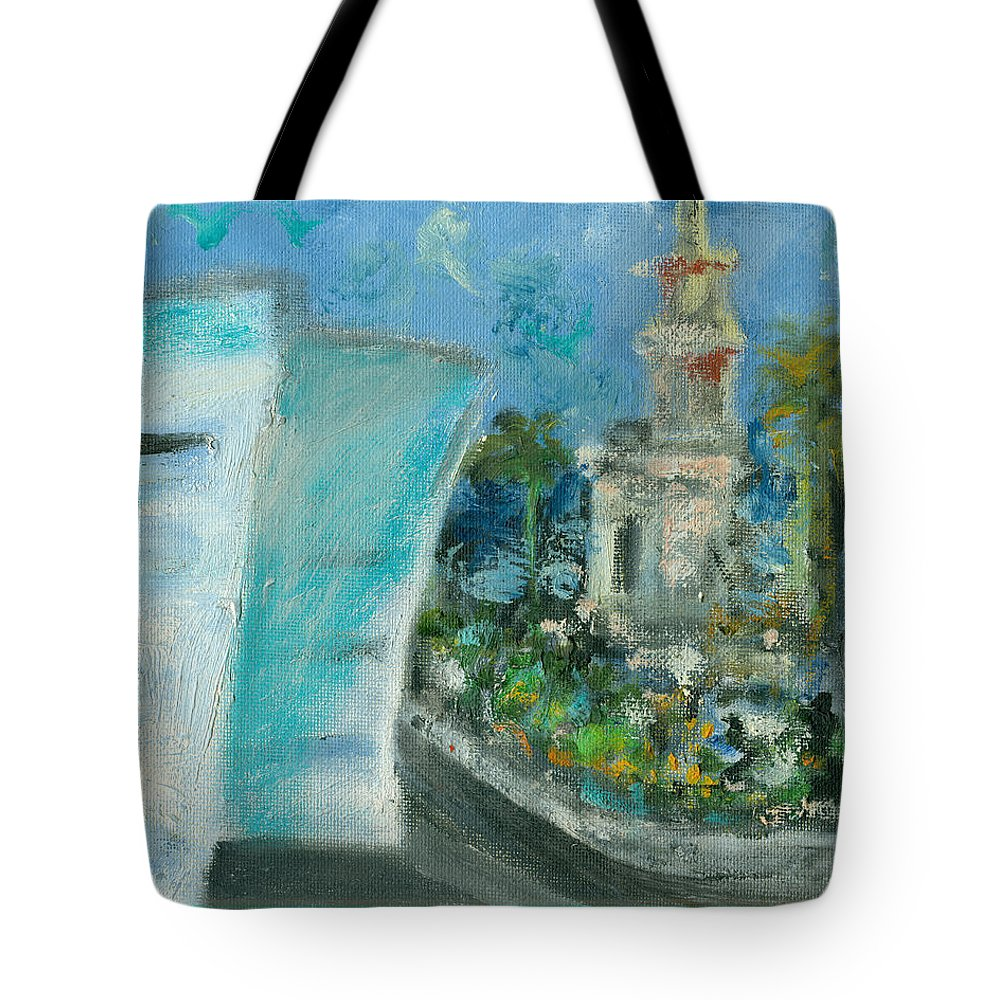 Miami Tote Bag featuring the painting Freedom Tower and AAA by Jorge Delara