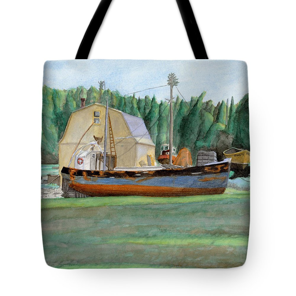 Fishing Boat Tote Bag featuring the painting Freeport Fishing Boat by Dominic White