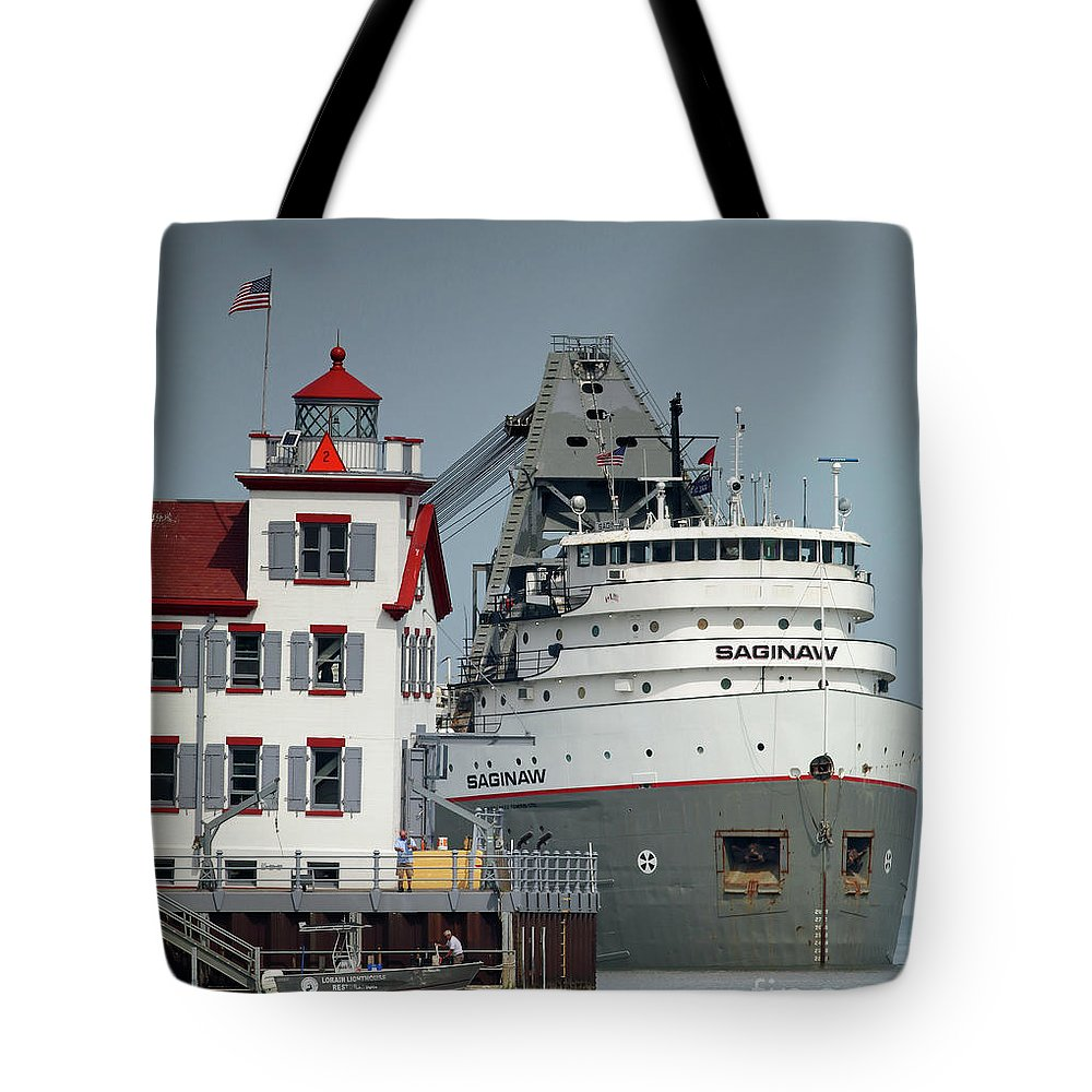 Lorain Tote Bag featuring the photograph Freighter by Debbie Parker