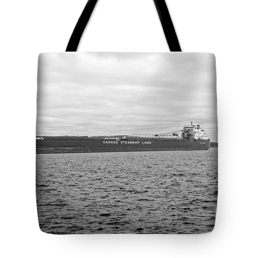 Freighter Tote Bag featuring the photograph Freighter In Midland Bay by Elaine Mikkelstrup