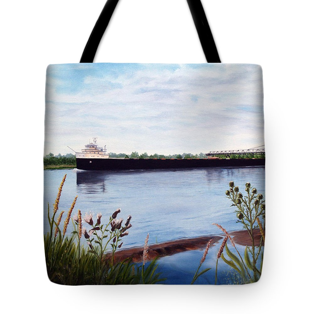 Freighter Tote Bag featuring the painting Freighter by Vicky Path