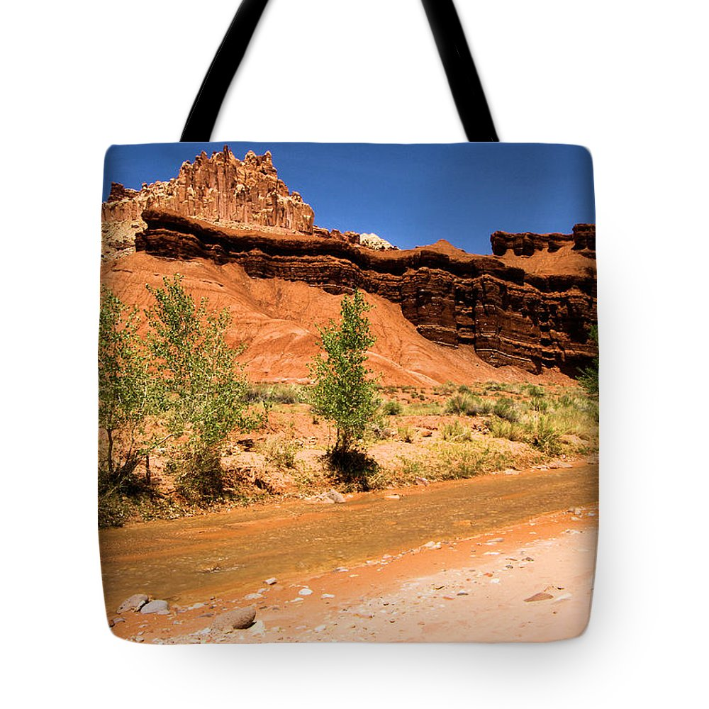 Fremont River Tote Bag featuring the photograph Fremont River Castle by Adam Jewell