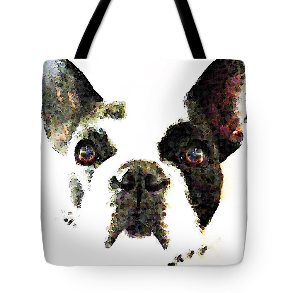 French Bulldog Tote Bag featuring the painting French Bulldog Art - High Contrast by Sharon Cummings