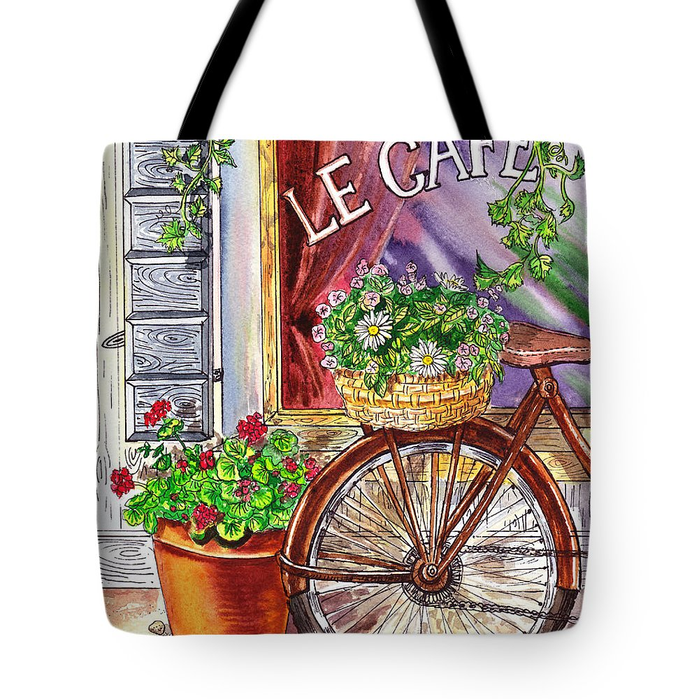 Window Tote Bag featuring the painting French Cafe by Irina Sztukowski
