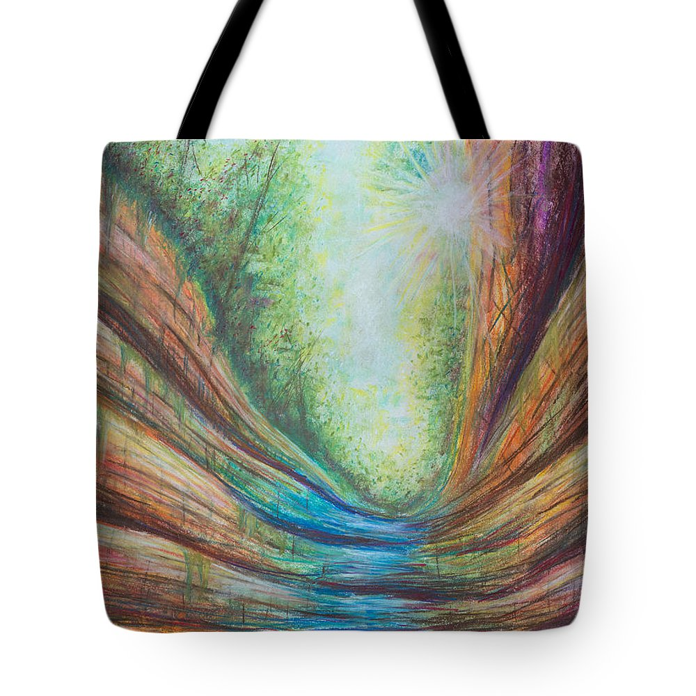 Colorful Tote Bag featuring the pastel French Canyon At Starved Rock State Park by Austin Beyer