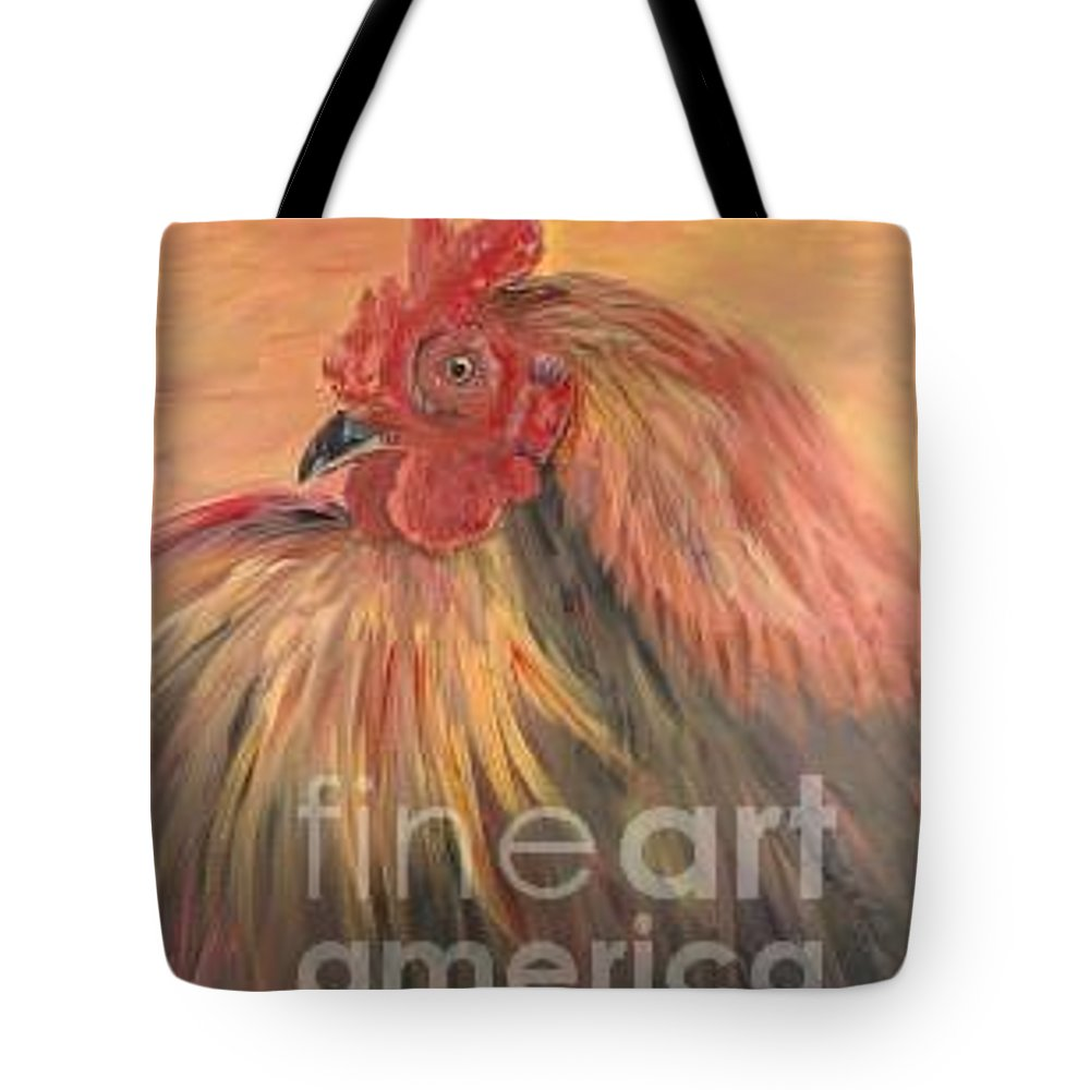 Rooster Tote Bag featuring the painting French Country Rooster by Nadine Rippelmeyer
