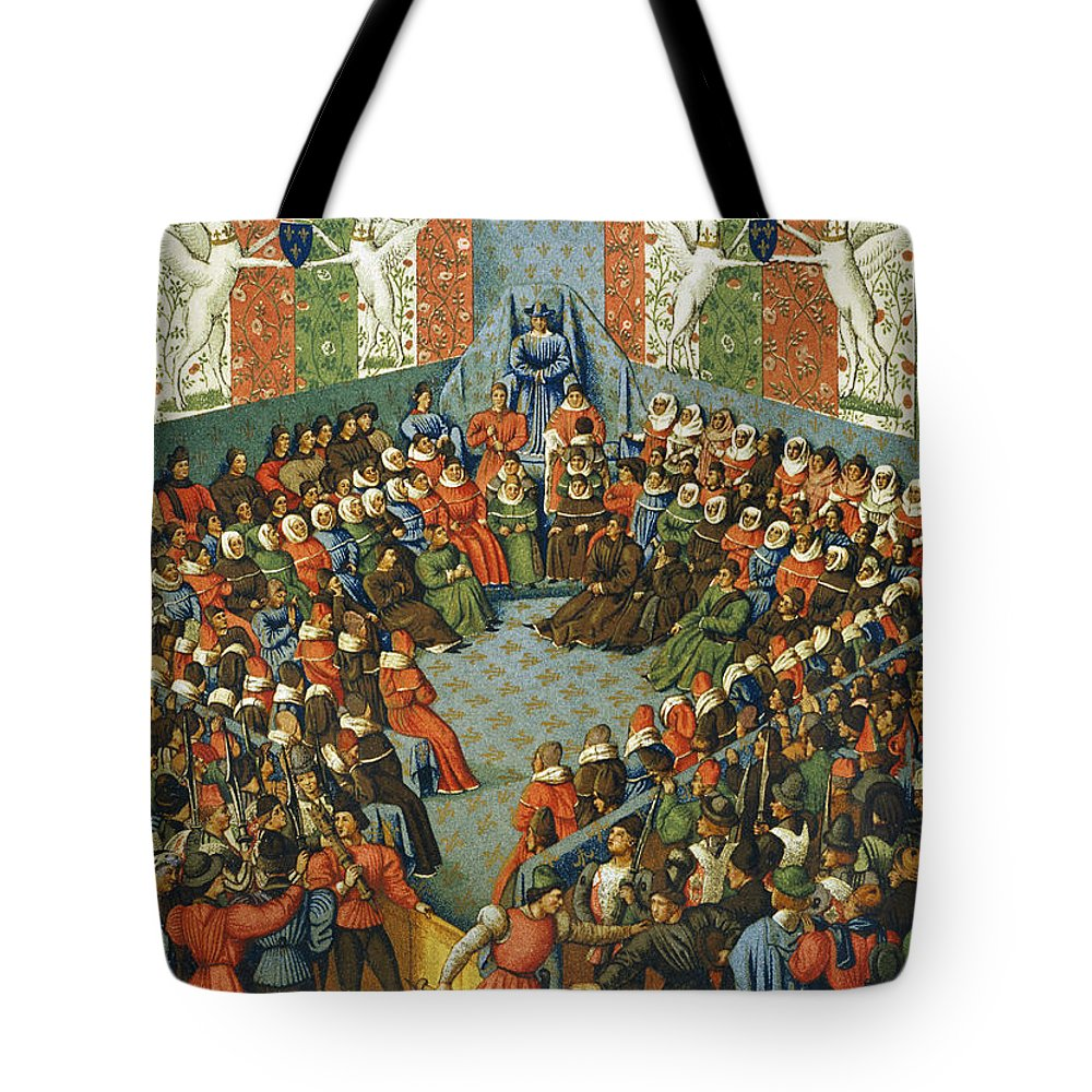 1458 Tote Bag featuring the photograph French Court, 1458 by Granger