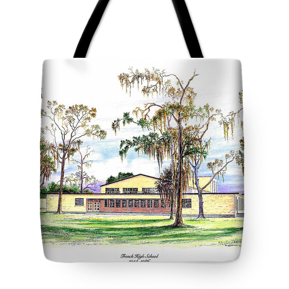 French Tote Bag featuring the drawing French High School by Randy Welborn