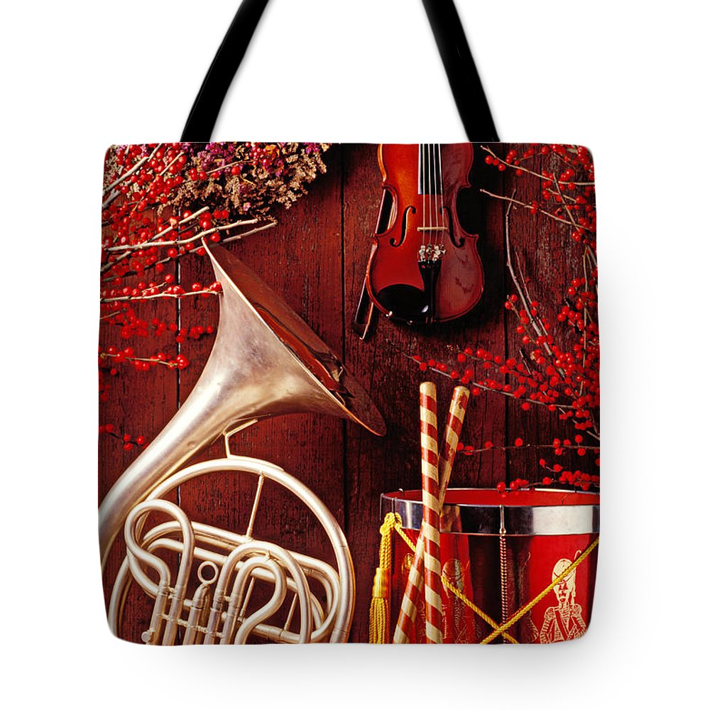 Violin Tote Bag featuring the photograph French Horn Christmas Still Life by Garry Gay