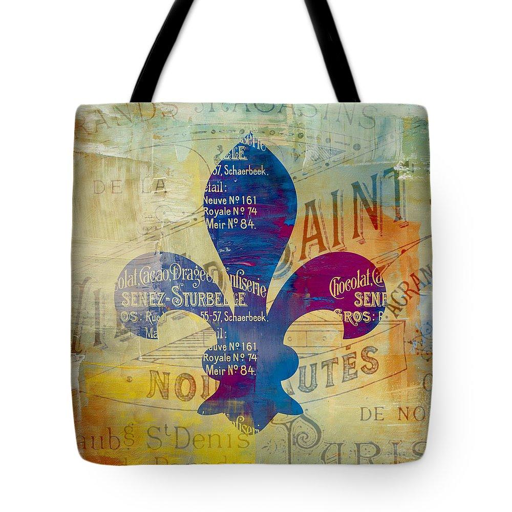 Brandi Fitzgerald Tote Bag featuring the digital art French Inspired Fleur De Lis by Brandi Fitzgerald