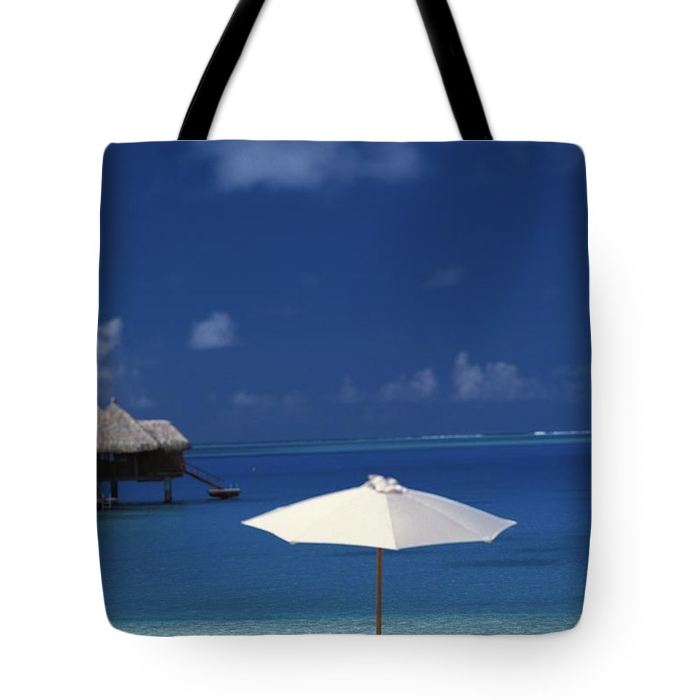 Above Tote Bag featuring the photograph French Polynesia, Bora Bora by Kyle Rothenborg - Printscapes