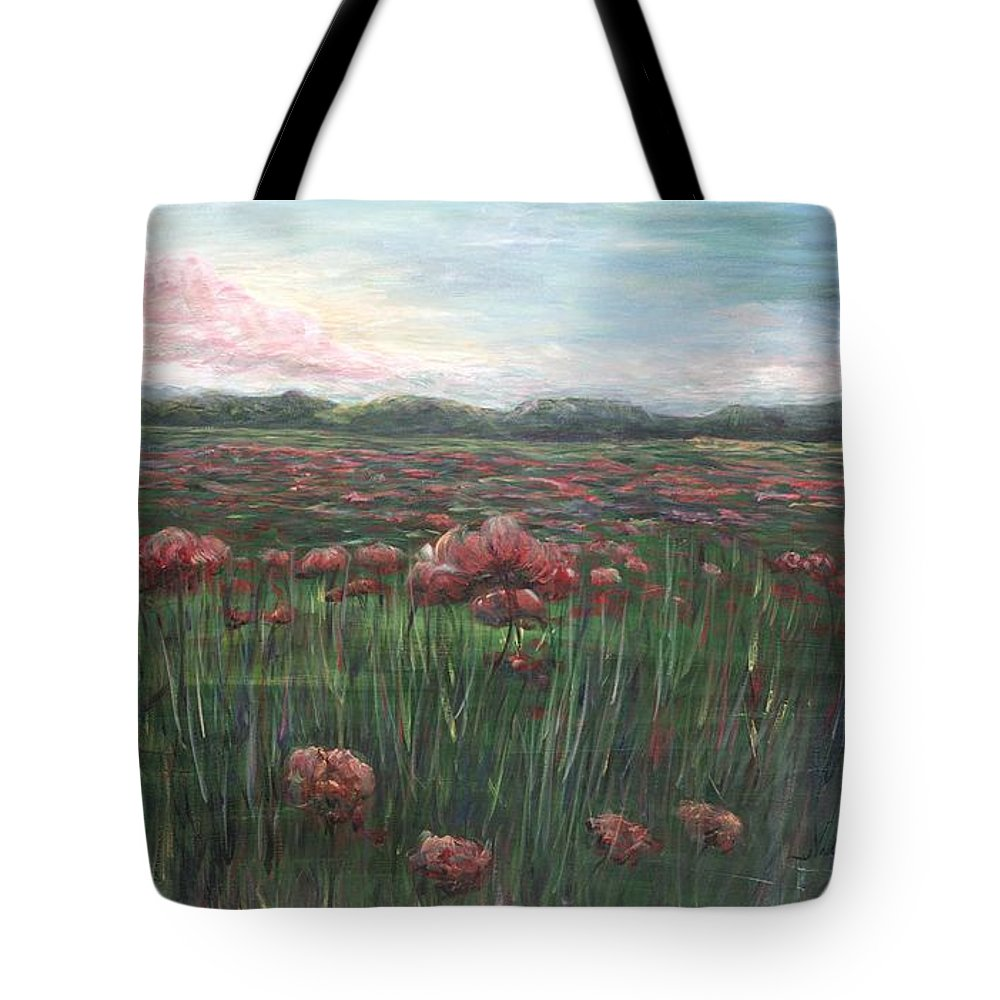 France Tote Bag featuring the painting French Poppies by Nadine Rippelmeyer