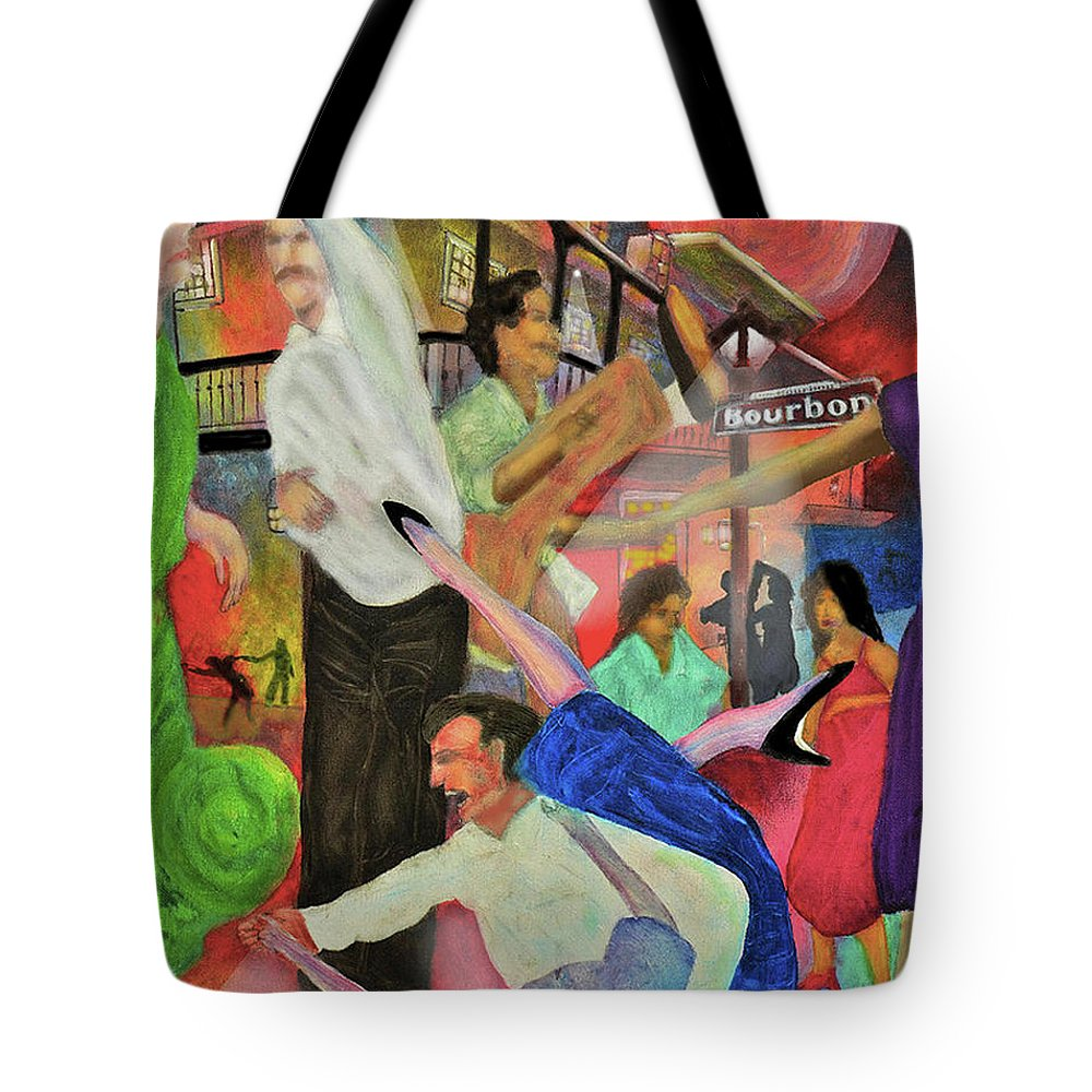 Quarter Tote Bag featuring the painting French Quarter by Larry Rice