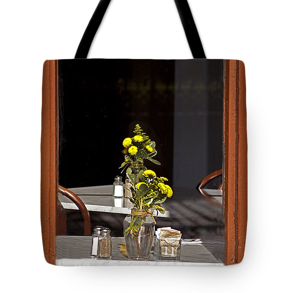 Resturant Tote Bag featuring the photograph French Quarter Resturant-signed-#4856 by J L Woody Wooden