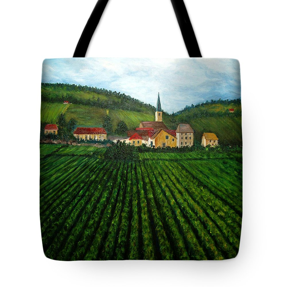 Acrylic Tote Bag featuring the painting French Village In The Vineyards by Nancy Mueller