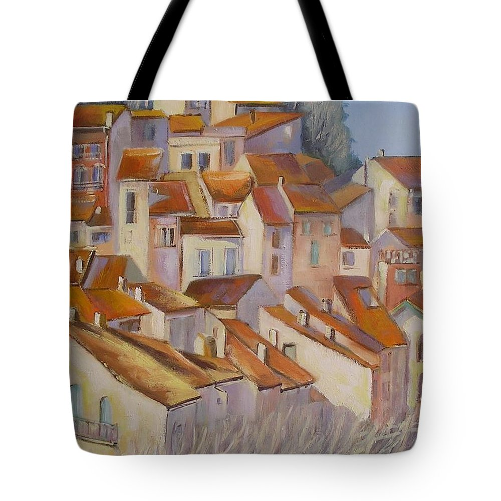 Rural Painting Tote Bag featuring the painting French Villlage Painting by Chris Hobel