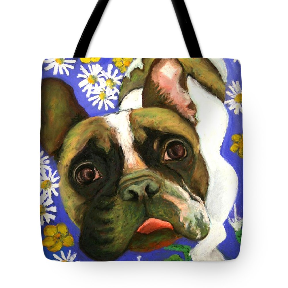 Pet Portrait Tote Bag featuring the painting Frenchie Plays With Frogs by Minaz Jantz