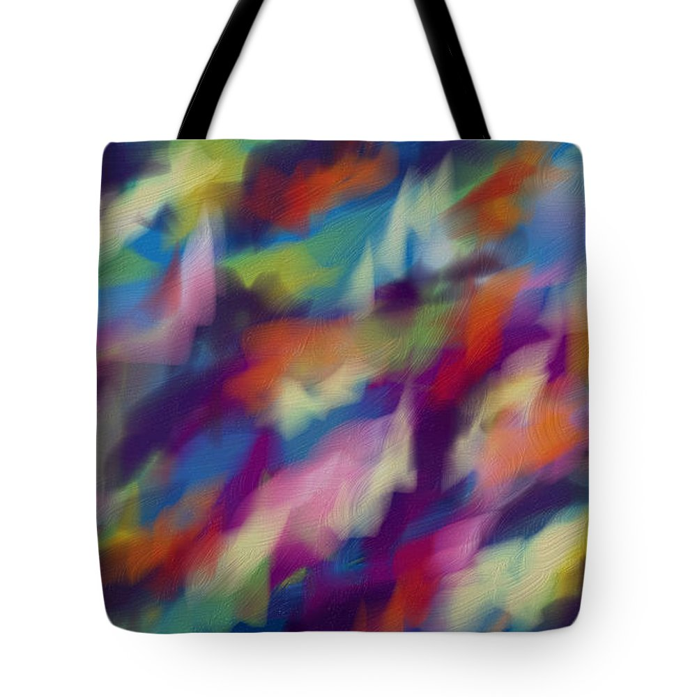 Abstraction Multicolored Tote Bag featuring the digital art Fresh Abstraction by Nadia Nova