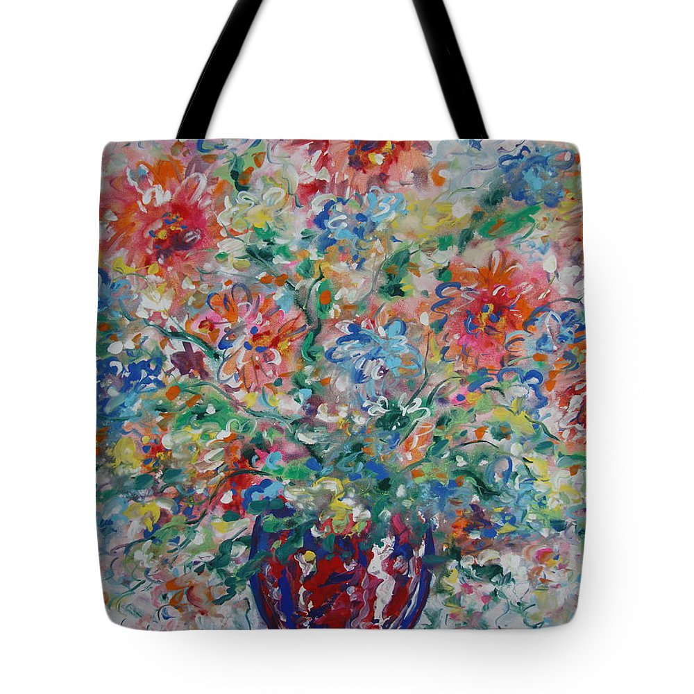 Flowers Tote Bag featuring the painting Fresh Bouquet by Leonard Holland