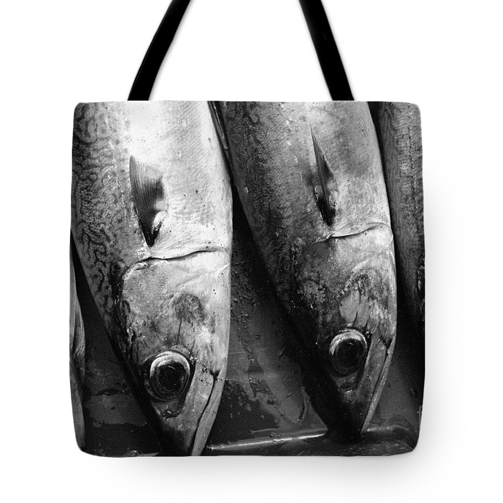 Black And White Tote Bag featuring the photograph Fresh Catch by Gaspar Avila
