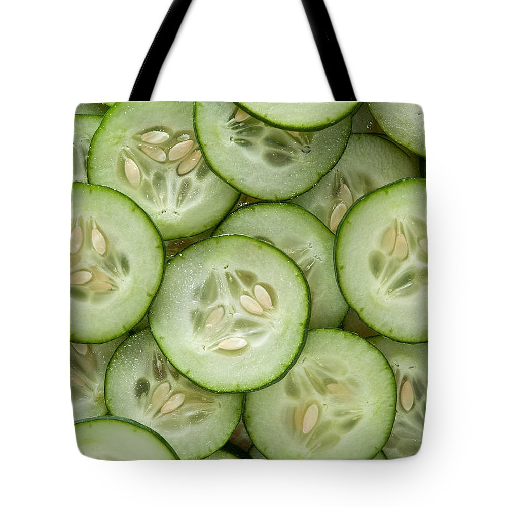 Kitchen Tote Bag featuring the photograph Fresh Cucumbers by Steve Gadomski