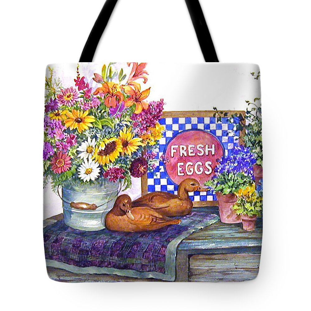 Watercolor;ducks;decoys;floral;mixed Bouquet;potted Plants;checkerboard;quilt; Tote Bag featuring the painting Fresh Eggs by Lois Mountz