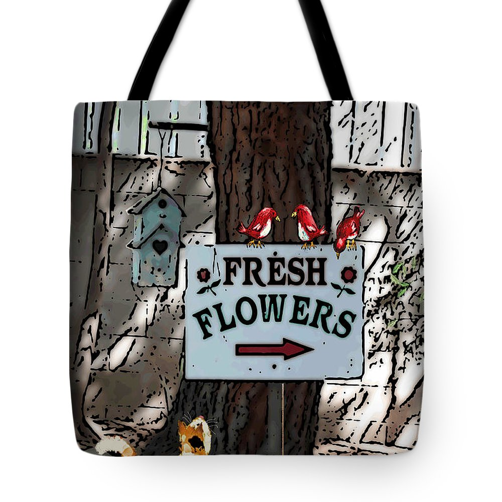 Tree Tote Bag featuring the mixed media Fresh Flowers by Arline Wagner