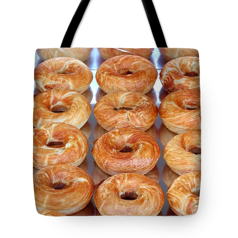Snack Tote Bag featuring the photograph Fresh Frosted Doughnuts On Sale by Yali Shi