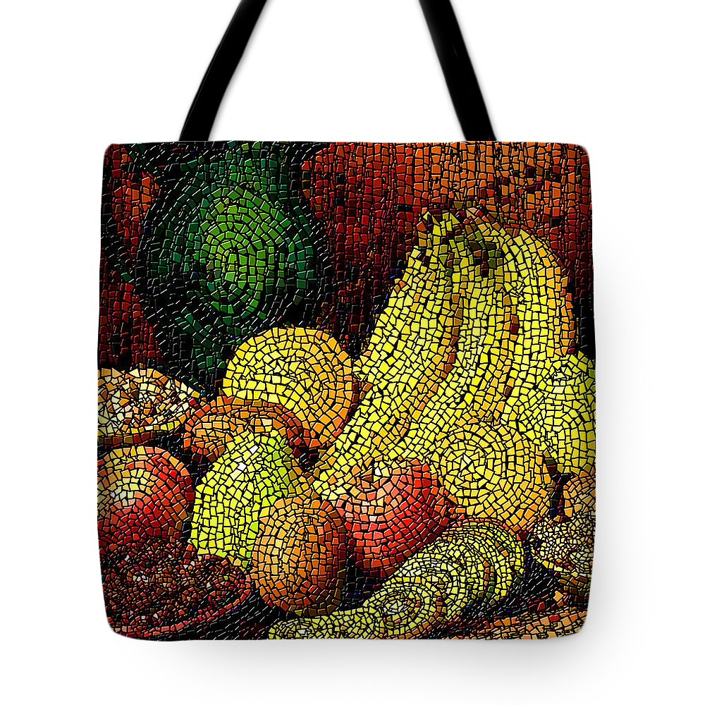 Fruit Tote Bag featuring the digital art Fresh Fruit Tiled by Stephen Lucas