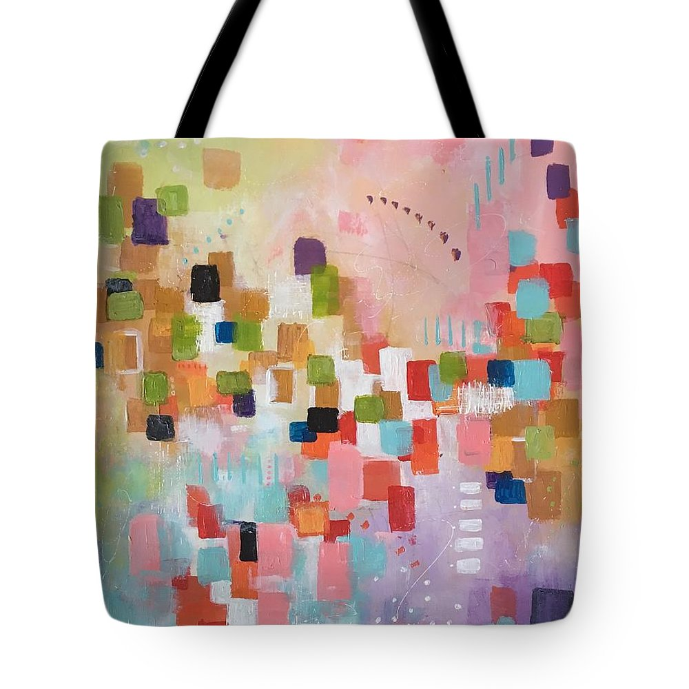 Abstract Tote Bag featuring the painting Fresh Morning by Suzzanna Frank