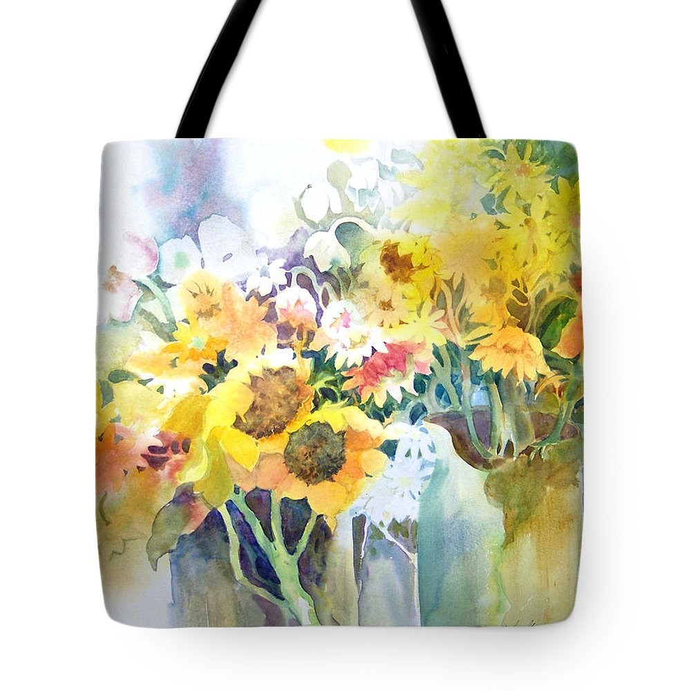 Contemporary;watercolor;sunflowers;daisies;floral; Tote Bag featuring the painting Fresh-picked by Lois Mountz