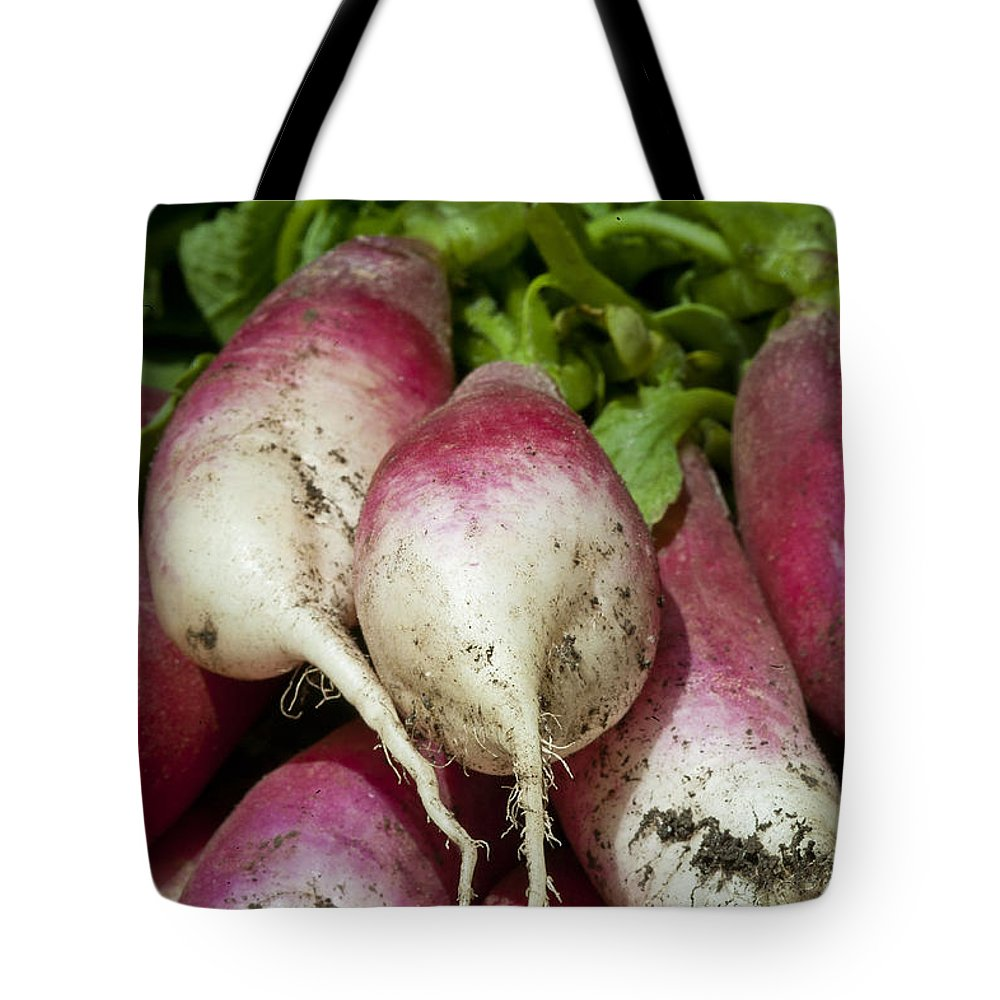 Brassicaceae Tote Bag featuring the photograph Fresh Radish Harvest. by John Greim