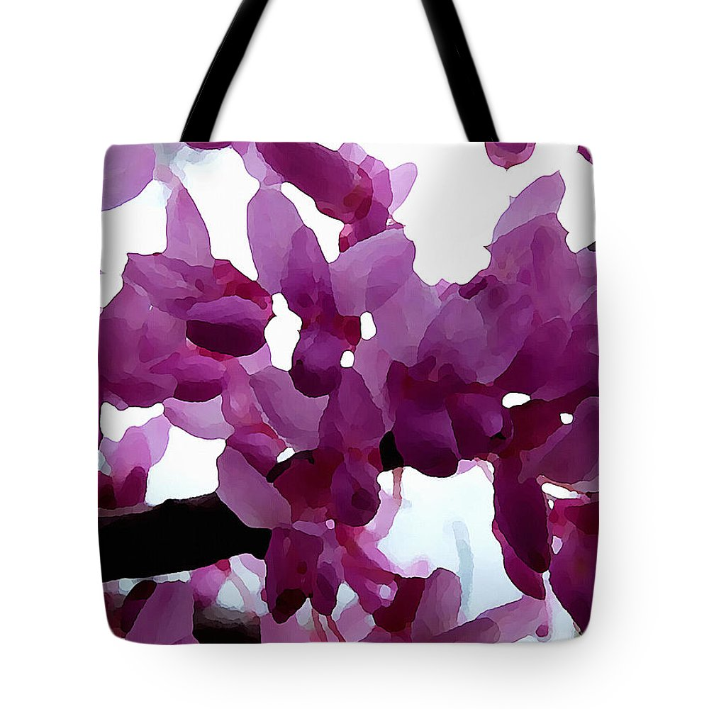 Botanical Tote Bag featuring the digital art Fresh Redbud Blooms by Shelli Fitzpatrick