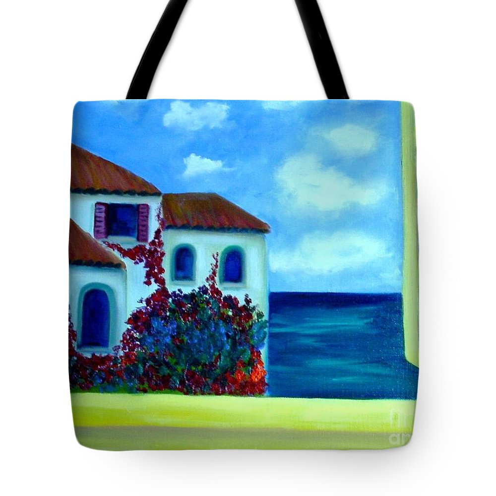 Seascape Tote Bag featuring the painting Fresh Sea Air by Laurie Morgan