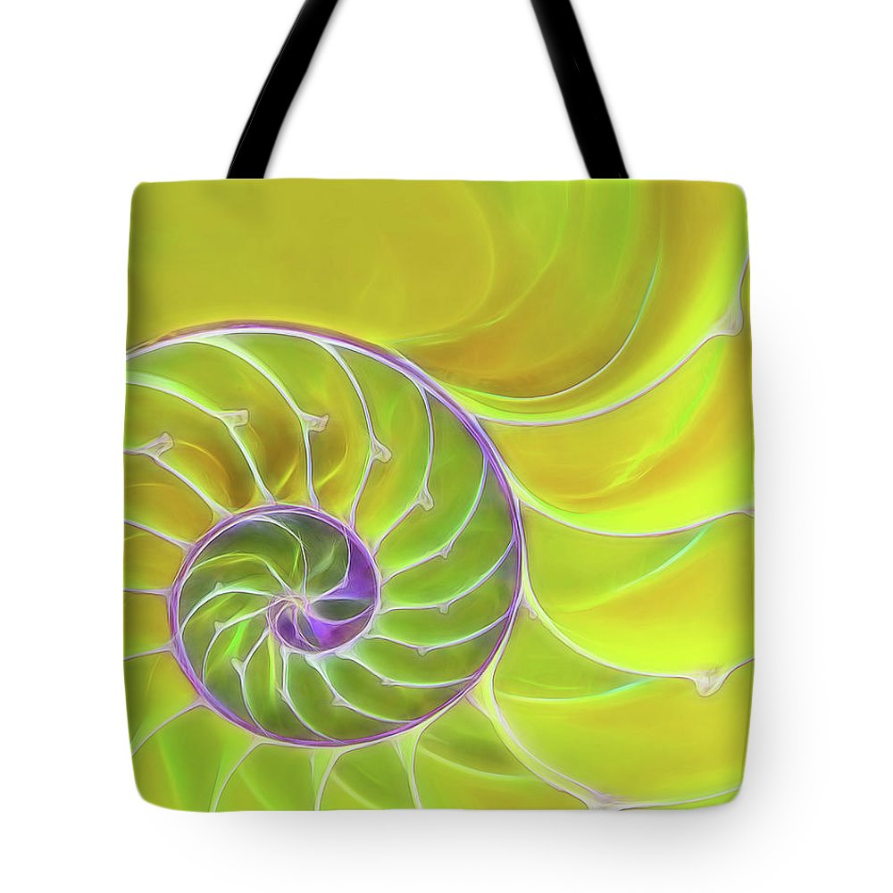 Nautilus Shell Tote Bag featuring the photograph Fresh Spiral by Gill Billington