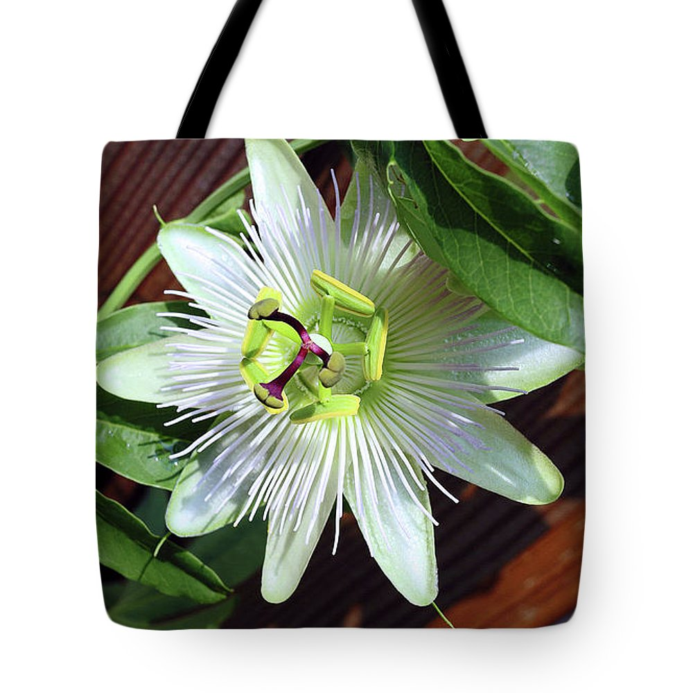 Passion Flower Tote Bag featuring the photograph Fresh White Passion Flower by Davids Digits