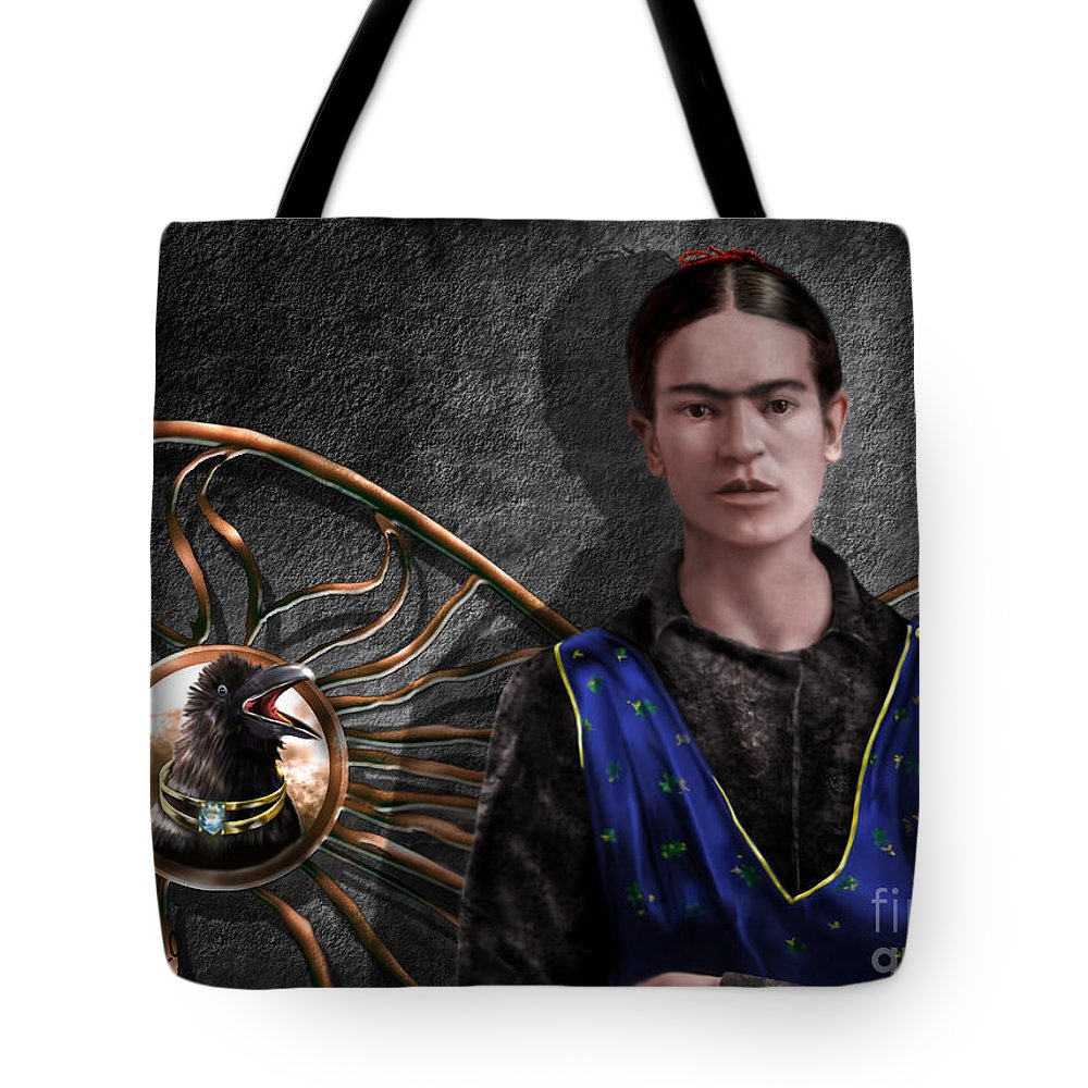 Frida Kahlo Tote Bag featuring the painting Frida - Wall Flower Waiting by Reggie Duffie