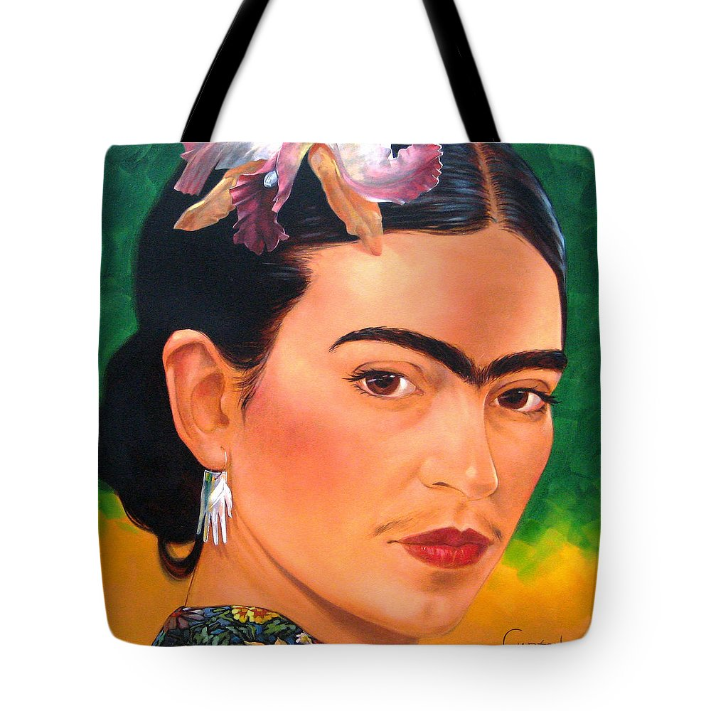 Frida Kahlo Tote Bag featuring the painting Frida Kahlo 2003 by Jerrold Carton