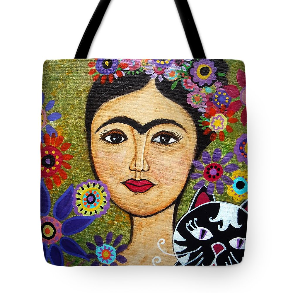 Frida Tote Bag featuring the painting Frida Kahlo And Cat by Pristine Cartera Turkus