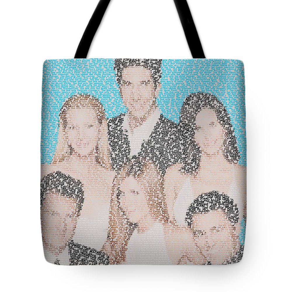Friends Tote Bag featuring the digital art Friends Episode Mosaic by Paul Van Scott